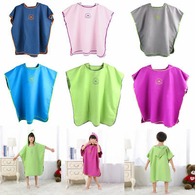 Kids Changing Robe Bath Towel Outdoor Boy Girl Hooded Beach Swim Poncho Bathrobe