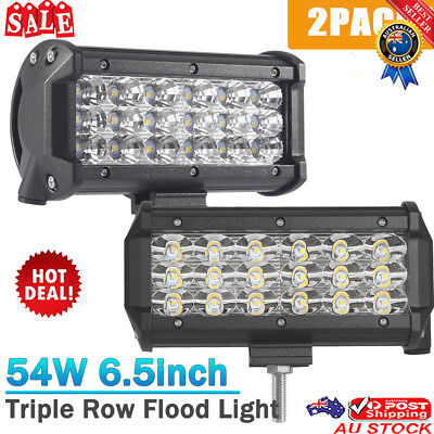 2PACK 54W 3-Row LED Work Driving Light Bar Off-road Truck Car ATV SUV Jeep