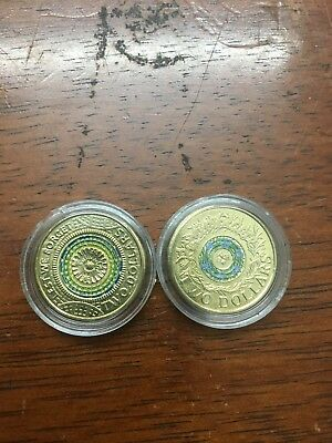 2 x 2017 $2 dollar coins coloured 1 Anzac Day & 1 Remembrance Day coin unc