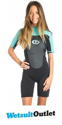 Rip Curl Womens Omega 2mm Back Zip Spring Shorty Wetsuit BLACK   Turquoise  WSP4C 275a67daa