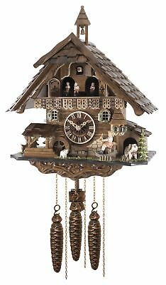 Cuckoo Clock Black forest house with music, moving seesaw EN 4835 MT NEW
