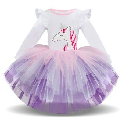 Children Kids Girls Long Sleeve Cartoon Animal Gauze Princess Party Tutu Dress C