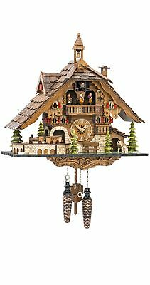 Quartz Cuckoo Clock Black Forest house with moving train, wit.. EN 48110 QMT NEW