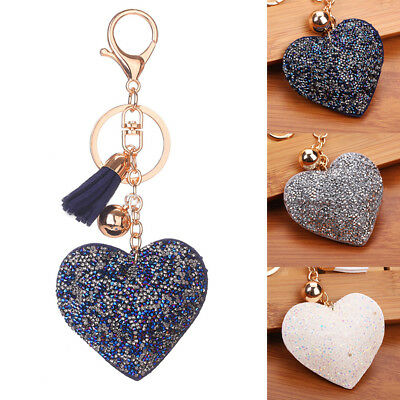Chic Tassel Key Chain Heart Leather Rhinestone Handbag Purse Phone Keyring New