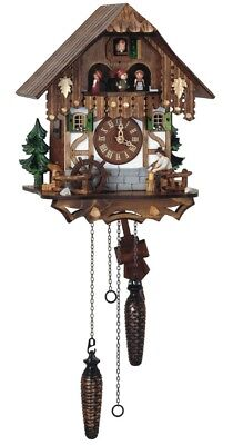 Quartz Cuckoo Clock Black Forest house with moving wood choppe.. SC Q 6563/9 NEW