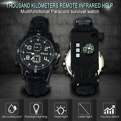 9 in 1 Survival Paracord Bracelet Watch Compass thermometer LED Whistle Light M4