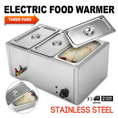 3-Pan Food Warmer Steam Table Steamer 110V Easy to Clean Buffet Countertop