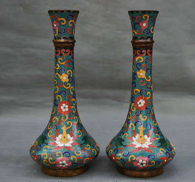 "10.8"" Marked Old Chinese Qing Cloisonne Enamel Dynasty Flower Bottle Vase Pair"