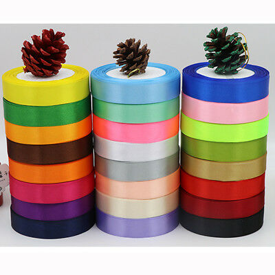 25 yds 20mm Double Face Satin Ribbon DIY Hair Bow Wedding Gift Decor Party Craft