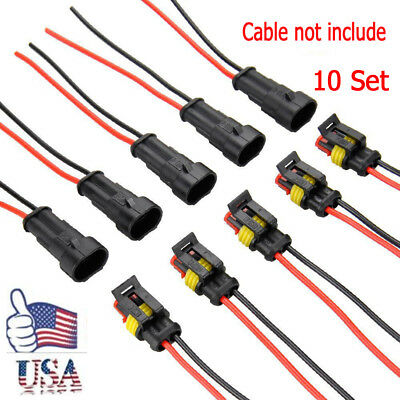 20 Kit 2 Pin Way Sealed Waterproof Electrical Wire Connector Plug Terminal Set