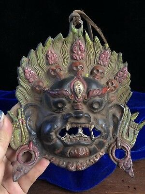 Chinese Antique Tibetan Buddhism old copper hand-made Buddha statue mask