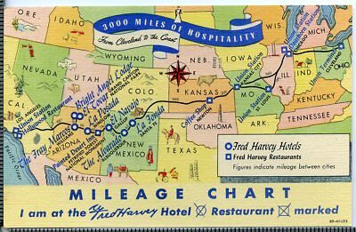c1930-1945 U.S. Route 66 Fred Harvey Mileage Chart - Cleveland To Los Angeles