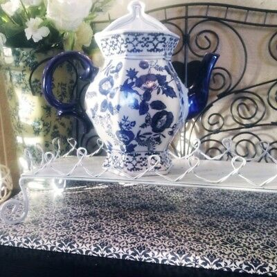 """Blue and white Chinese/Delft floral wall pocket large 10"""" porcelain collectible"""