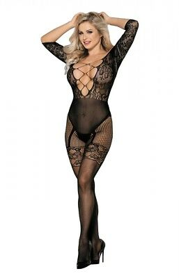 Lau-Fashion Bodystocking Catsuit Bandeau Netz Nylon Dessous Damen Strapse S/M/L