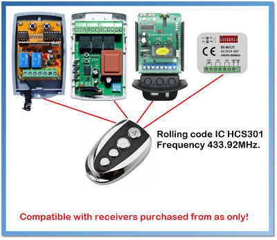 Spare Remote Control Rolling code 433.92MHz. (For receivers purchased from us)