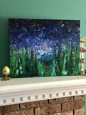 Night Sky Camping PAINTING Original TREE FOREST PALETTE KNIFE Home Decor Nursery
