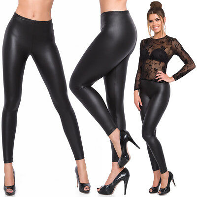 Womens Full Length Latex Leggings BLACK MAT Faux Leather Skinny Slim Pants 8-20
