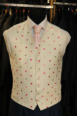 W - 1033 Ivory Spotted Formal Wedding Waistcoat