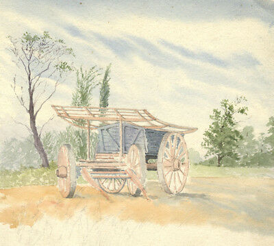 Wooden Horse Drawn Cart - Original 19th-century watercolour painting