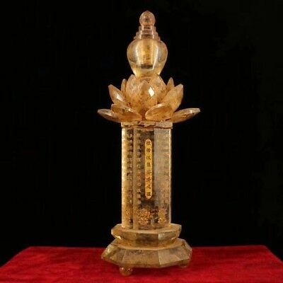 Chinese Tibetan Buddhist natural crystal hand-carved scriptures Relic pagoda EC