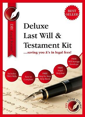DELUXE LAST WILL AND TESTAMENT KIT, NEW 2020 Edition, FOR 1 or 2 PERSONS.