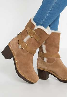 New UGG BREA BNIB £190 Suede Leather Fur Women's Ankle Shoes Boots UK 4 5 6 7