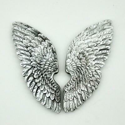 Pair Antique Silver Angel Wings Cherub Wing Decorative Wall Art Hanging 37cm