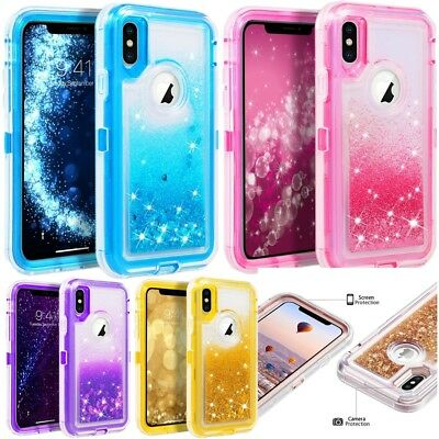 For iPhone XR Liquid Glitter Defender Case Cover (Works with Otterbox Belt Clip)