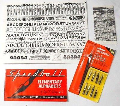 Vintage Speedball Art Pen Kit No. 5 Hand Lettering and Calligraphy Set