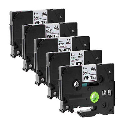 5PK Black on White Label Tape TZ TZe-211 For Brother P-touch PT-2030/2730 6mm*8m