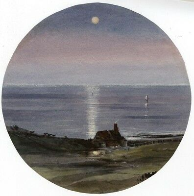 Ellis, Llandudno Seascape by Moonlight - Mid-19th-century watercolour painting