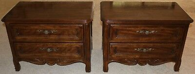 Drexel Cabernet Side Night Chests Tables - Pair