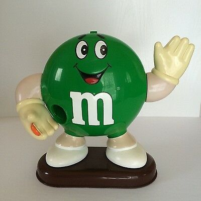 Vintage 1992 M&M Candy Dispenser Green Plastic Mars Incorporated Collectible