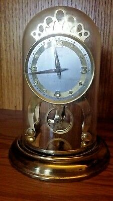 Vintage Schatz 8 Day Open Escapement Balance Wheel Clock Runs Well Plastic Dome