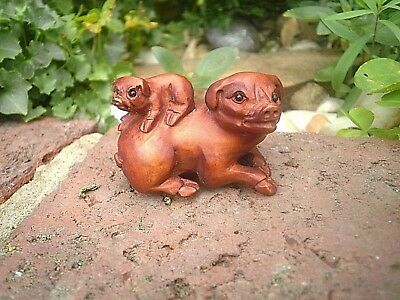 Hand Carved wood netsuke pig with piglet on back boxwood collectable figurine