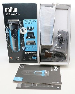 Braun Series 3 ProSkin 3040s Men's Electric Razor/ Rechargeable, Wet & Dry, Blue