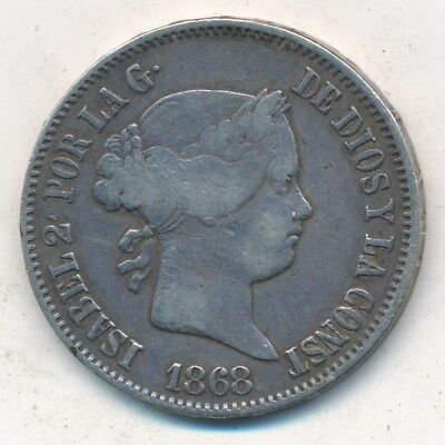 1868 Philippines Silver 50 Centimos-Nice Circulated Silver Coin-Ships Free!