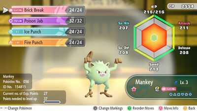 Pokemon Let's Go Pikachu & Eevee - Shiny Mankey 6iv