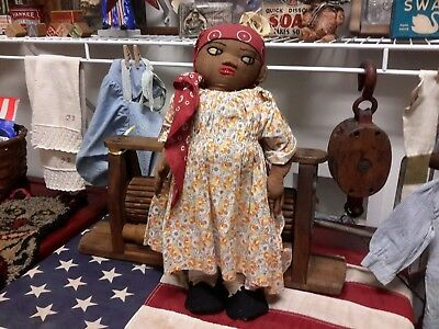 """Antique Cloth Doll Handmade African American Embroidery Face Orig Cloths 18 12"""""""