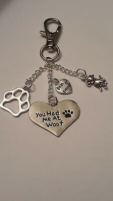 Key Ring Handbag Charm You Had Me At Woof , Paw Print, Dog, Best Friend  Gift