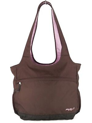 Eddie Bauer Brown / Lilac XL Tote Bag Shoulder Travel Bag Gym Carry On $60 GUC