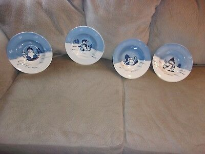 Christmas hidden valley hand painted bowls with snowman, set of 4