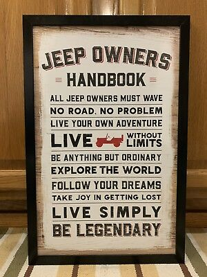 Jeep Sign Owners Handbook Parts Service Garage Truck Car Vintage Style Lift Kit