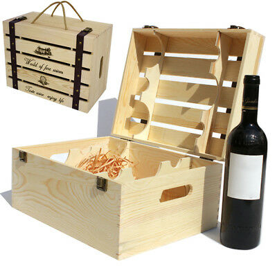 Vintage Rustic Wooden 6 Wine Bottle Holder Carrier Storage Crate Box With handle