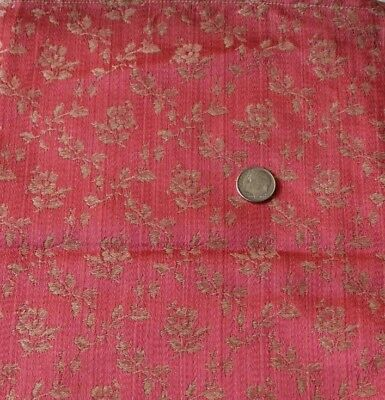 "Antique c1890 French Silk Pink Rose Frame Fabric Sample~L-24""X W-8""~Dolls"