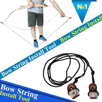 Archery Recurve Bow String  Long bow Stringer Black Leather Rope Tool C2
