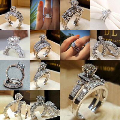 2PCS/ set of white sapphire birthstone wedding ring 925 silver ring size 6-10