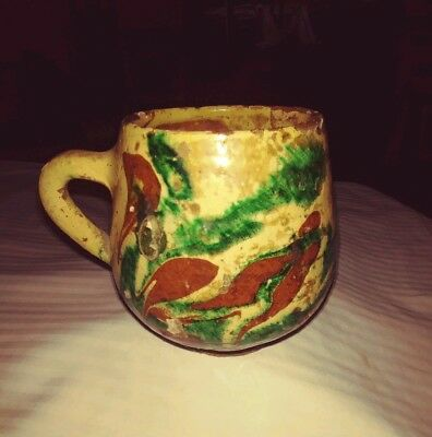 Antique Canakkale Pottery.popular Brown -White- Green Coffee Cup With Handle.