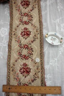 """Antique c1910 Old Heavy French Cotton Roses & Lace Tapestry Border Fabric~61""""X8"""""""