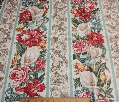 "Vintage c1940s Old Linen/Cotton Floral Stripe Fabric~L-25"" X W-49"""